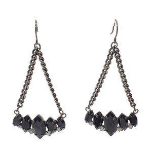 Vintage Black Rhinestone Earrings Gunmetal Chains